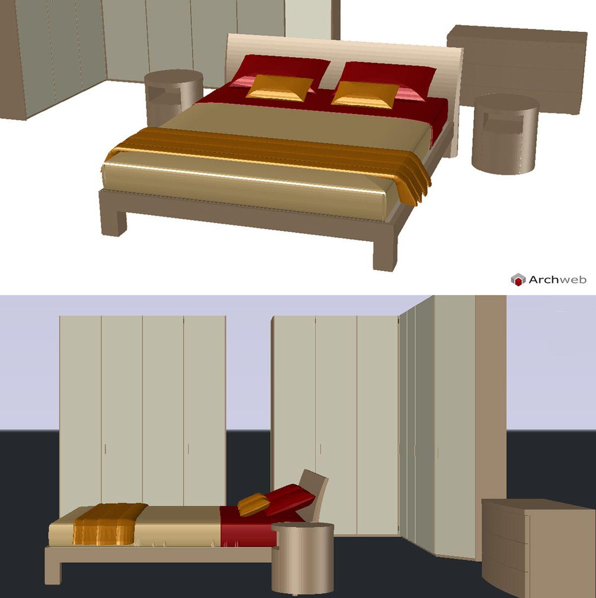 Camera letto Poliform 3D dwg