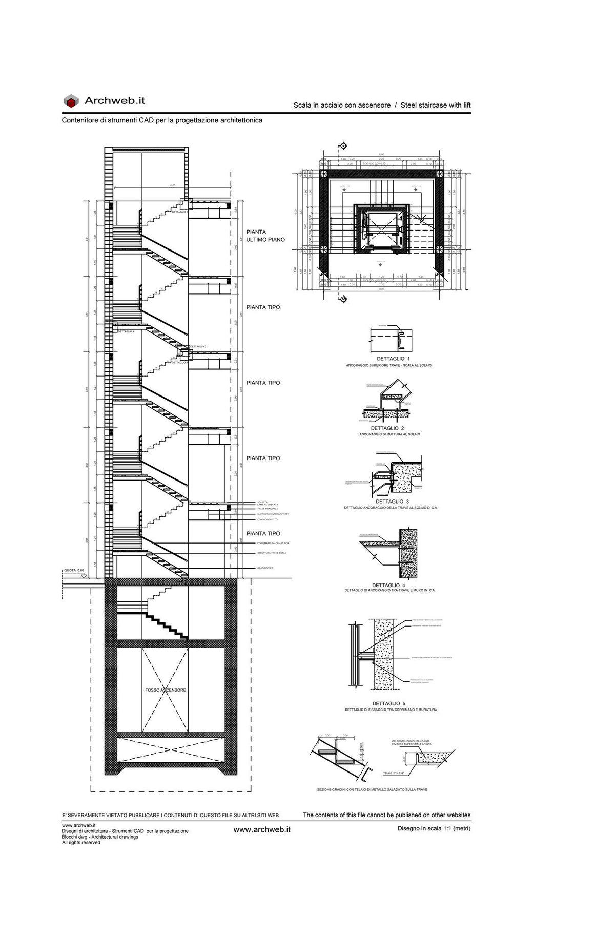 Scala in acciaio con ascensore dwg